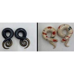 """Lot of 2 Hand Painted Gauge Earrings 1/2"""""""